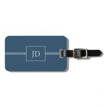 Weaselgift Simple Elegant Dark Blue Monogram Luggage Tag