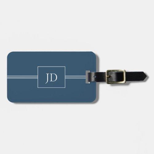Simple Elegant Dark Blue Monogram Luggage Tag