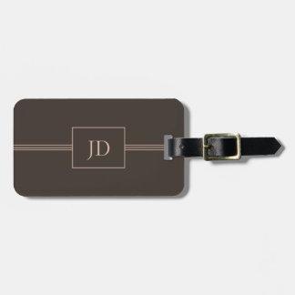 Simple Elegant Dark Brown Monogram Luggage Tag