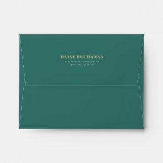Simple Elegant Dark Green Gold Pink Envelope