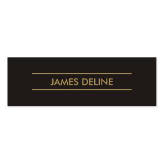 Simple Elegant Dark Grey Gold Lines Consultant Mini Business Card