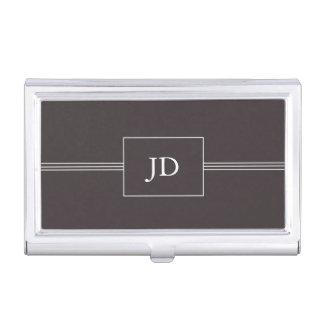 Simple Elegant Dark Grey Monogram Business Card Holder