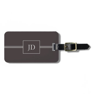 Simple Elegant Dark Grey Monogram Luggage Tag