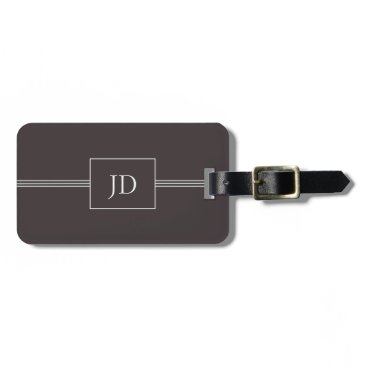 Weaselgift Simple Elegant Dark Grey Monogram Luggage Tag
