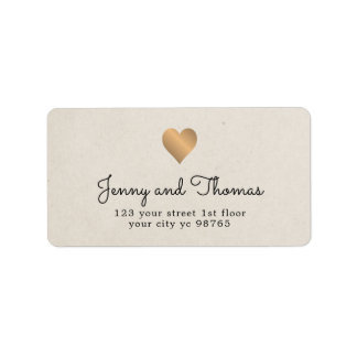 Simple Elegant Faux Gold Heart Wedding Label