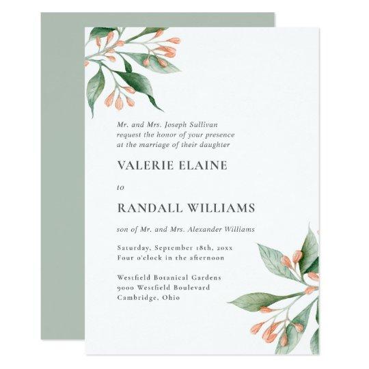 Simple Wedding Invitation Wording: Simple Elegant Floral Formal Wording Wedding Invitation