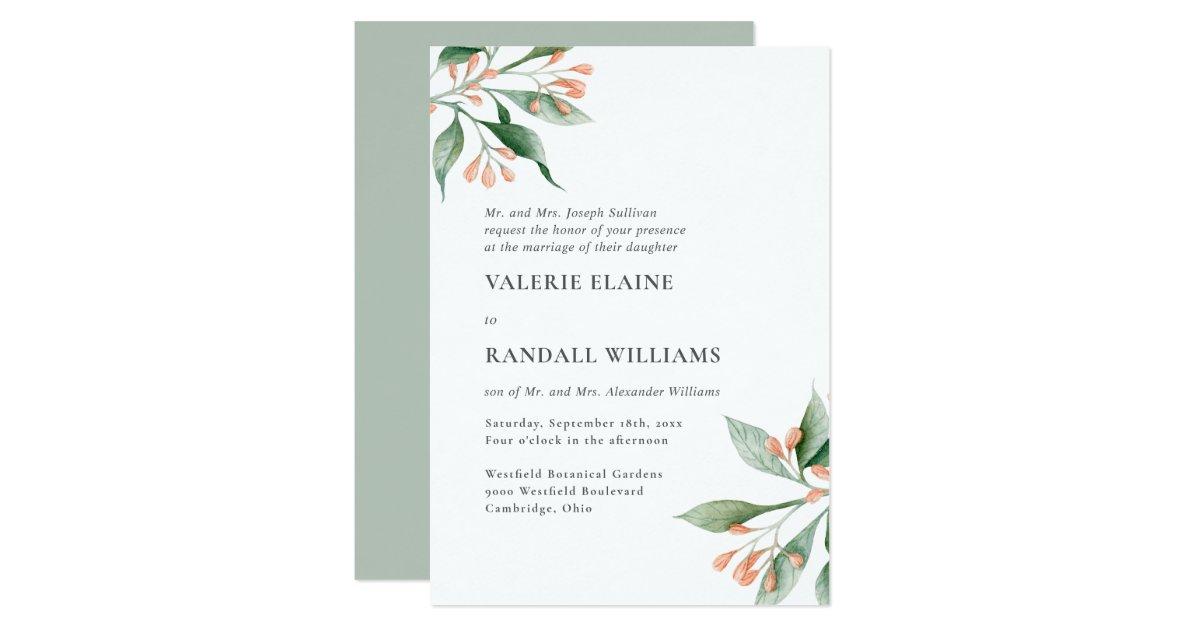 Basic Wedding Invitation Wording: Simple Elegant Floral Formal Wording Wedding Invitation