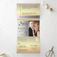 Simple Elegant Floral Silver & Gold Wedding Photo Tri-Fold Invitation