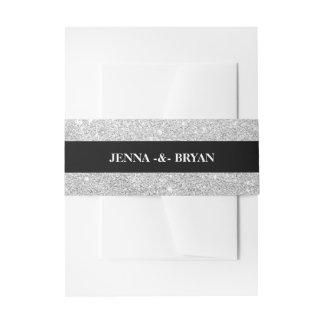 Simple Elegant Glitter Silver & Black Personalizd Invitation Belly Band