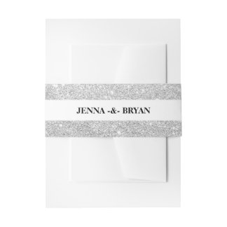Simple Elegant Glitter Silver & White Personalized Invitation Belly Band