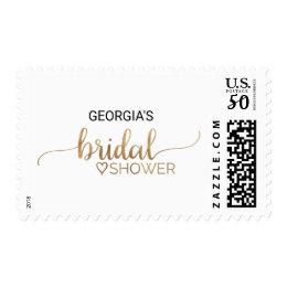 Simple Elegant Gold Calligraphy Bridal Shower Postage