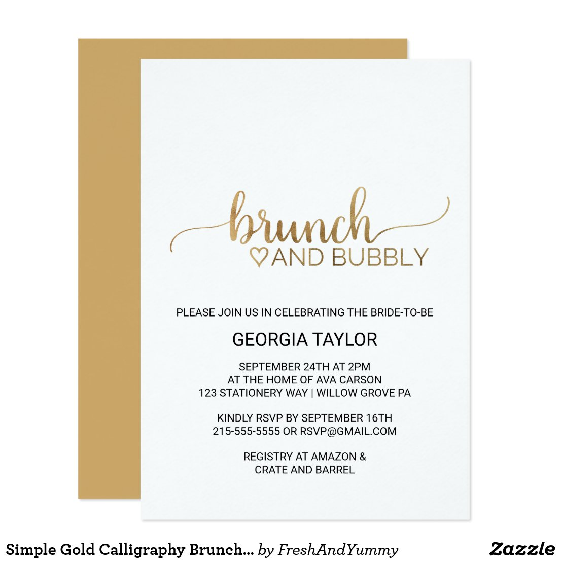 Simple Elegant Gold Calligraphy Brunch and Bubbly Card