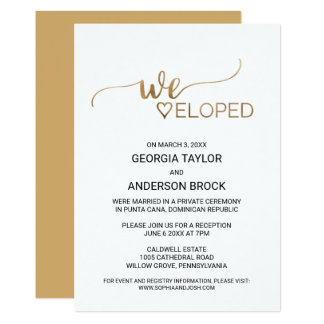 Simple Elegant Gold Calligraphy Elopement Card