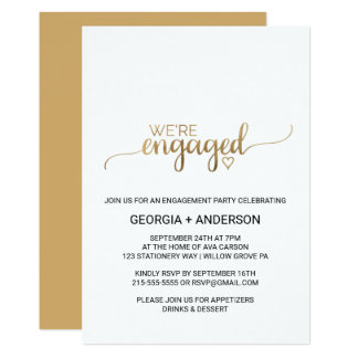 Simple Elegant Gold Calligraphy Engagement Party Card