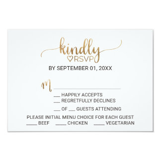 Simple Elegant Gold Calligraphy Menu Choice RSVP Card