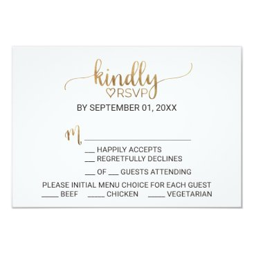 Valentines Themed Simple Elegant Gold Calligraphy Menu Choice RSVP Card