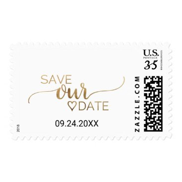 Valentines Themed Simple Elegant Gold Calligraphy Save Our Date Postage