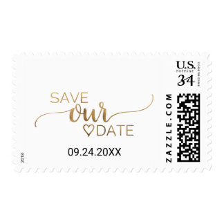 Simple Elegant Gold Calligraphy Save Our Date Postage