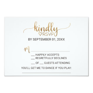 Simple Elegant Gold Calligraphy Song Request Rsvp Card at Zazzle