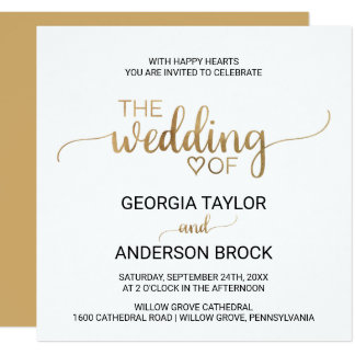 Simple Elegant Gold Calligraphy Square Wedding Card