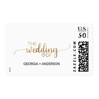 """Simple Elegant Gold Calligraphy """"The Wedding Of"""" Postage"""