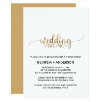 Simple Elegant Gold Calligraphy Wedding Brunch Card