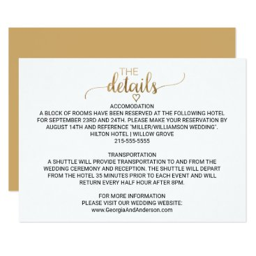 Valentines Themed Simple Elegant Gold Calligraphy Wedding Details Card