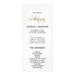 Simple Elegant Gold Calligraphy Wedding Program