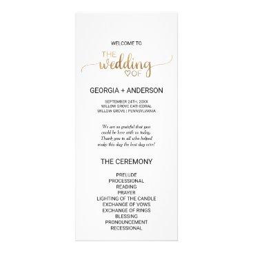 Valentines Themed Simple Elegant Gold Calligraphy Wedding Program