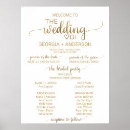 Simple Elegant Gold Calligraphy Wedding Program Poster