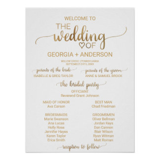 Simple Elegant Gold Calligraphy Wedding Program Poster