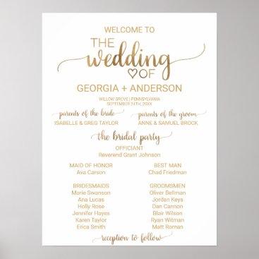 Valentines Themed Simple Elegant Gold Calligraphy Wedding Program Poster
