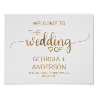 Simple Elegant Gold Calligraphy Wedding Welcome Poster