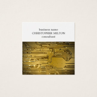 Simple Elegant Gold Circuit Board HighTech Service Square Business Card