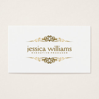 Simple Elegant Gold Floral Elements Business Card