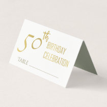 SIMPLE ELEGANT GOLD GREY TYPOGRAPHY 50 BIRTHDAY PLACE CARD