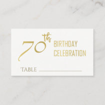 SIMPLE ELEGANT GOLD GREY TYPOGRAPHY 70 BIRTHDAY BUSINESS CARD