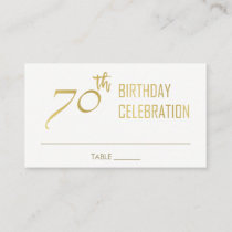 SIMPLE ELEGANT GOLD GREY TYPOGRAPHY 70 BIRTHDAY PLACE CARD
