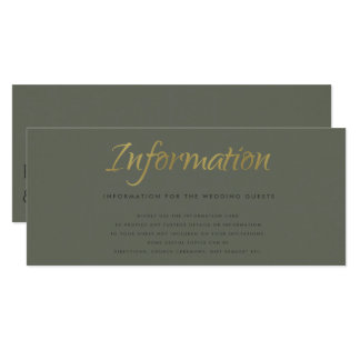 SIMPLE ELEGANT GOLD GREY TYPOGRAPHY Information Card