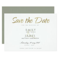 SIMPLE ELEGANT GOLD GREY TYPOGRAPHY  SAVE THE DATE CARD