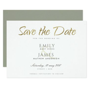 Bride Themed SIMPLE ELEGANT GOLD GREY TYPOGRAPHY  SAVE THE DATE CARD