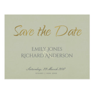 SIMPLE ELEGANT GOLD GREY TYPOGRAPHY  SAVE THE DATE POSTCARD