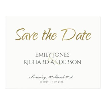 Bride Themed SIMPLE ELEGANT GOLD GREY TYPOGRAPHY  SAVE THE DATE POSTCARD