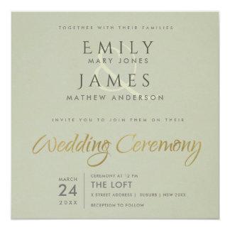 SIMPLE ELEGANT GOLD GREY TYPOGRAPHY WEDDING CARD