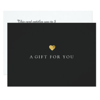 Simple Elegant Gold Heart Gift Certificate Card