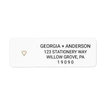Valentines Themed Simple Elegant Gold Heart Wedding Label