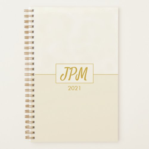 Simple Elegant Gold Monogrammed Customizable Planner