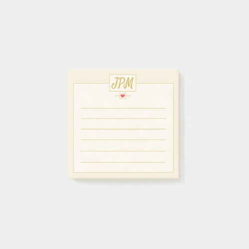 Simple Elegant Gold Monogrammed Customizable Post-it Notes