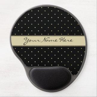Simple Elegant Gold Polka Dots on Black Gel Mouse Pad