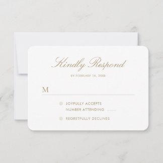 Simple Elegant Gold Script Wedding RSVP Card